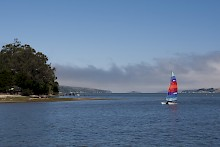 View from the pier of a boat sailing on Tomales Bay gallery image